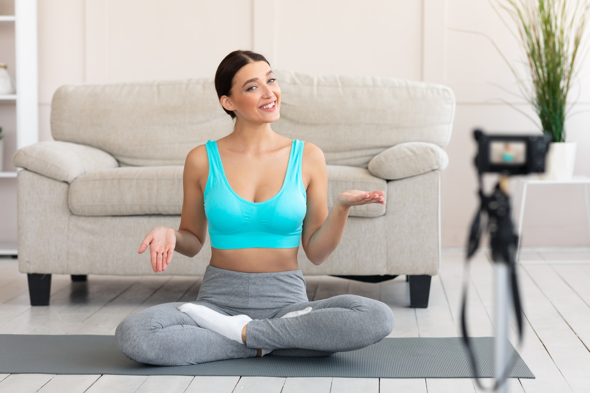 Blogger Girl Making Video For Online Yoga Course At Home